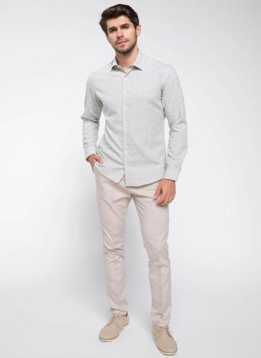DeFacto Uzun Kollu Gömlek Haki